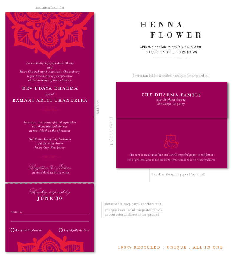 Henna Flower Send n Seal Invites