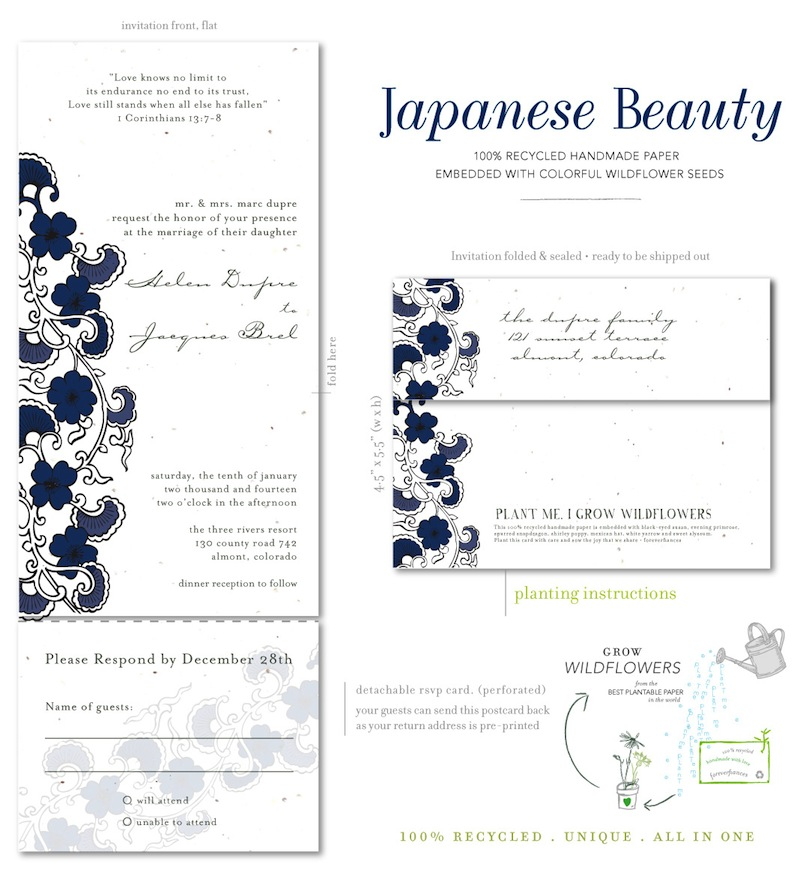 Plantable invitations Japanese Beauty