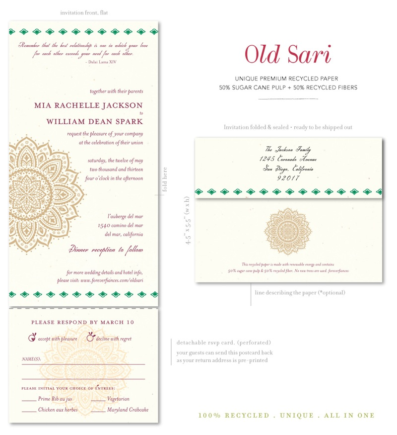 Old Sari Wedding Invitations