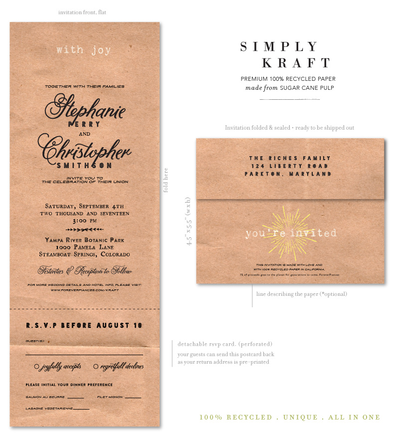 Recycled Paper Wedding Invitations: Send N Sealed Wedding Invitations On 100% Recycled Paper
