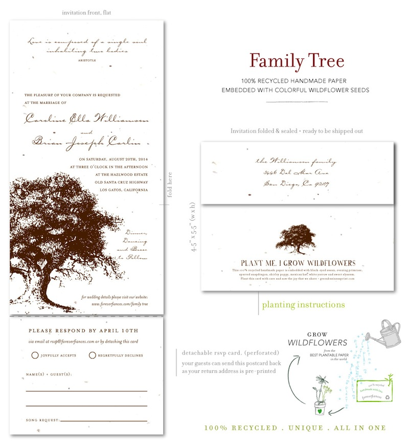 plantable wedding invitations on seeded paper family With family tree wedding invitations