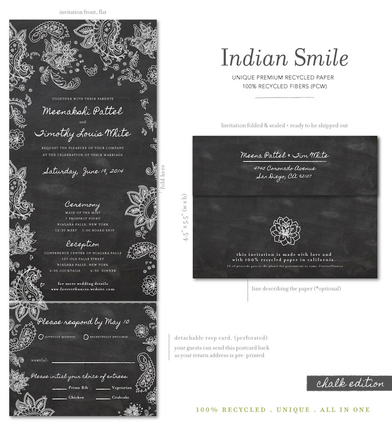 Chalkboard Indian Smile Invites