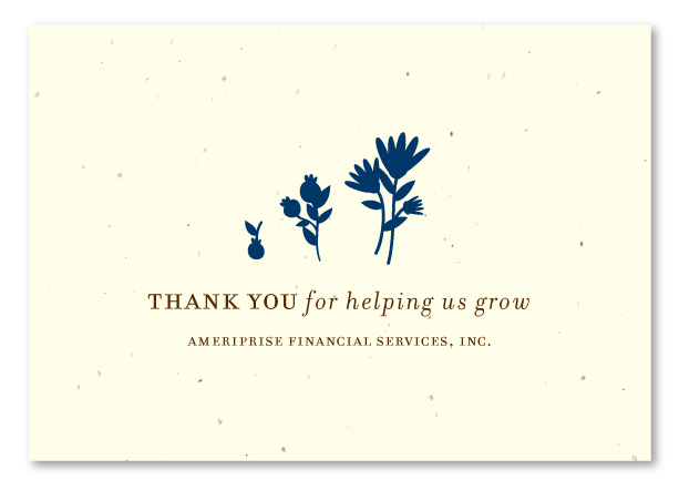 Unique Thank you cards on seeded paper for Financial