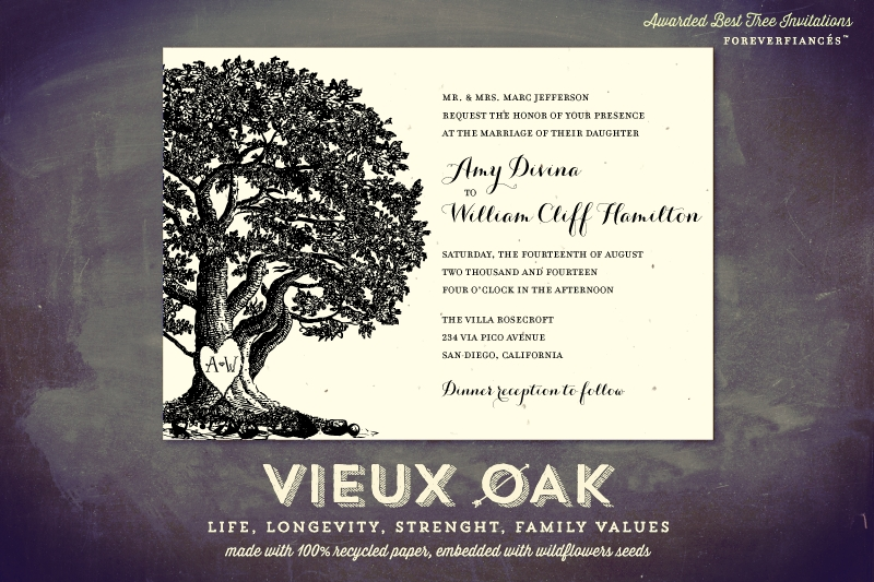 Oak Tree Wedding Invitations on Handmade Paper | Vieux Oak ...