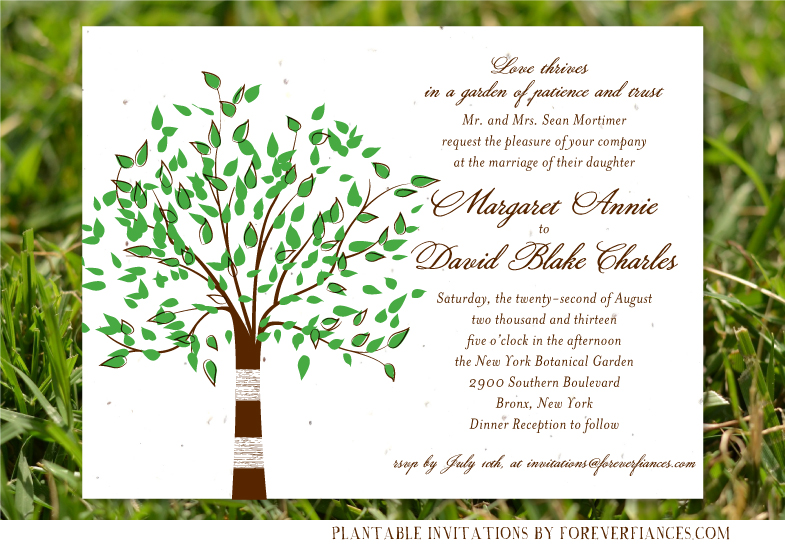 Green Tree wedding invitations (birch)