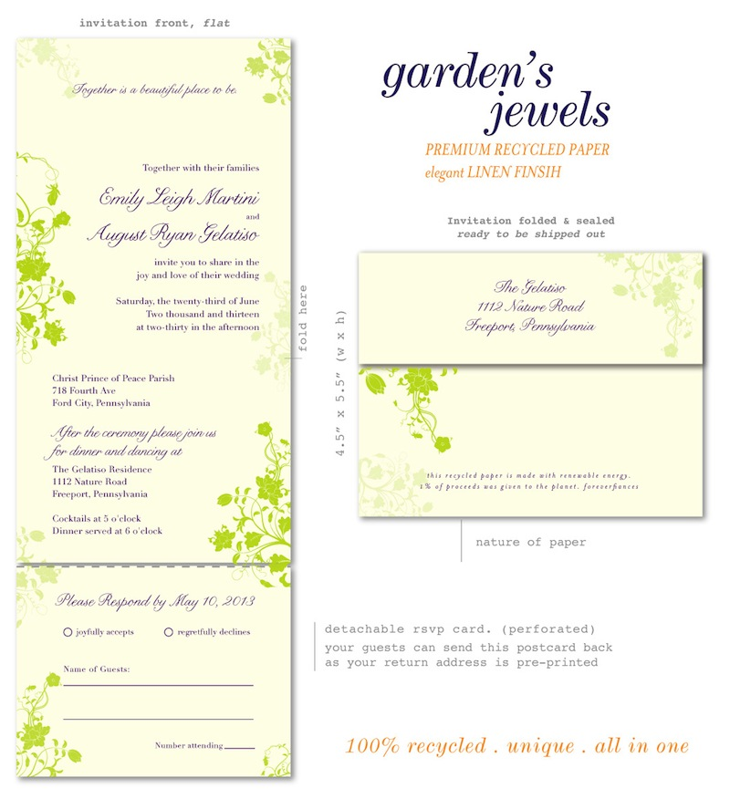 Garden's Jewels all in one invitations (grass green aubergine)