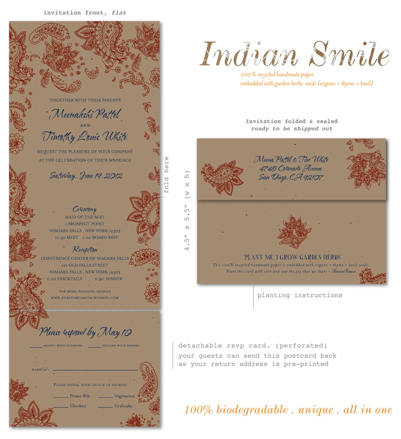 Indian Wedding Invitations on brown seeded paper