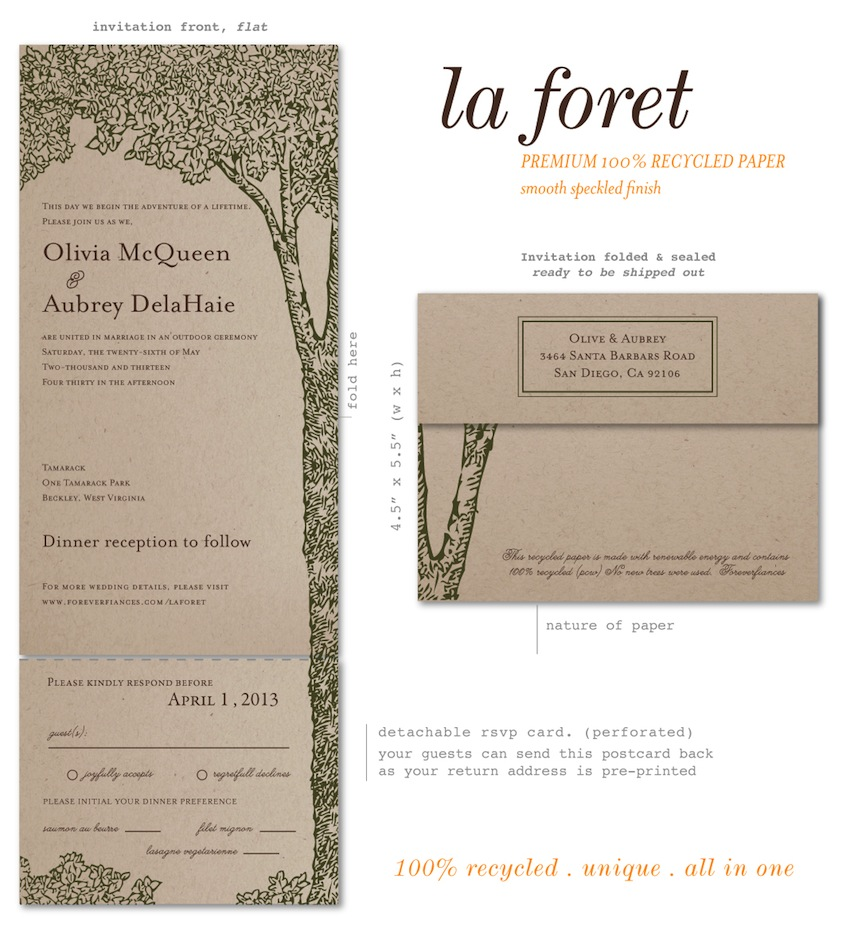 Recycled Paper Wedding Invitations: Brown Paper Wedding Invitations On 100% Recycled Paper