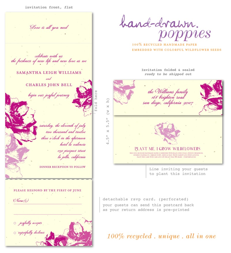 Eco Friendly Poppies wedding invitations