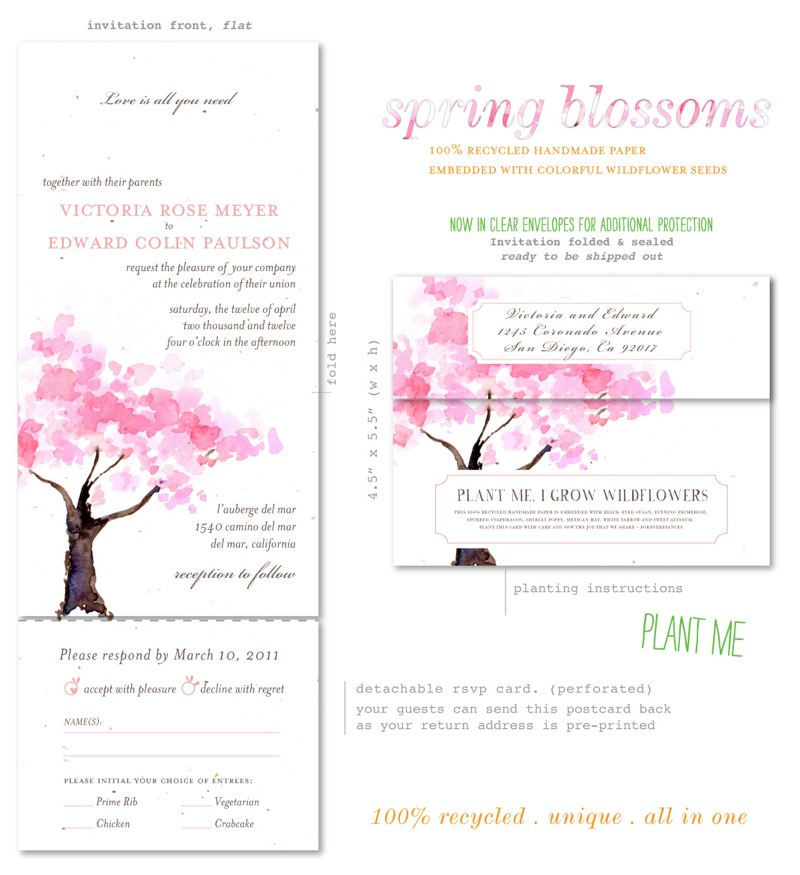 Send n Sealed Wedding Invitations (Pink Blossoms Tree)