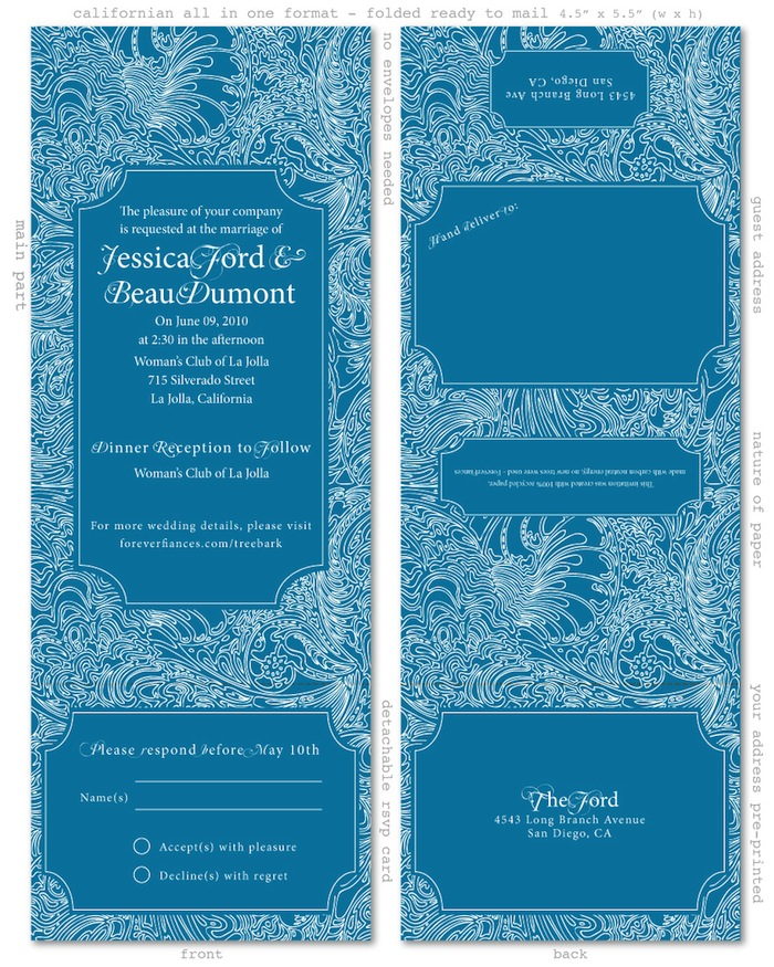 Tree bark all in one invitations