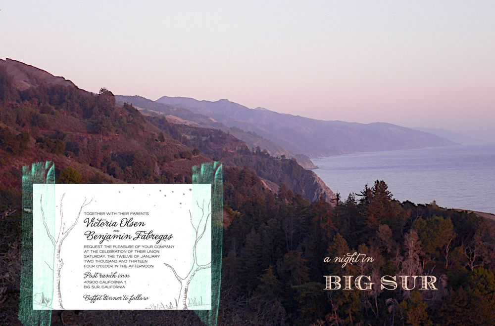 Big Sur wedding invitations (unique and seeded paper)