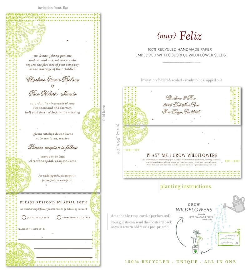 spanish wedding invitations on seeds paper  feliz by, Wedding invitations
