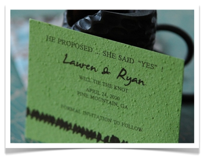 Green Paper Wedding Save the Date cards Herbs Mix Bright Green seeded paper