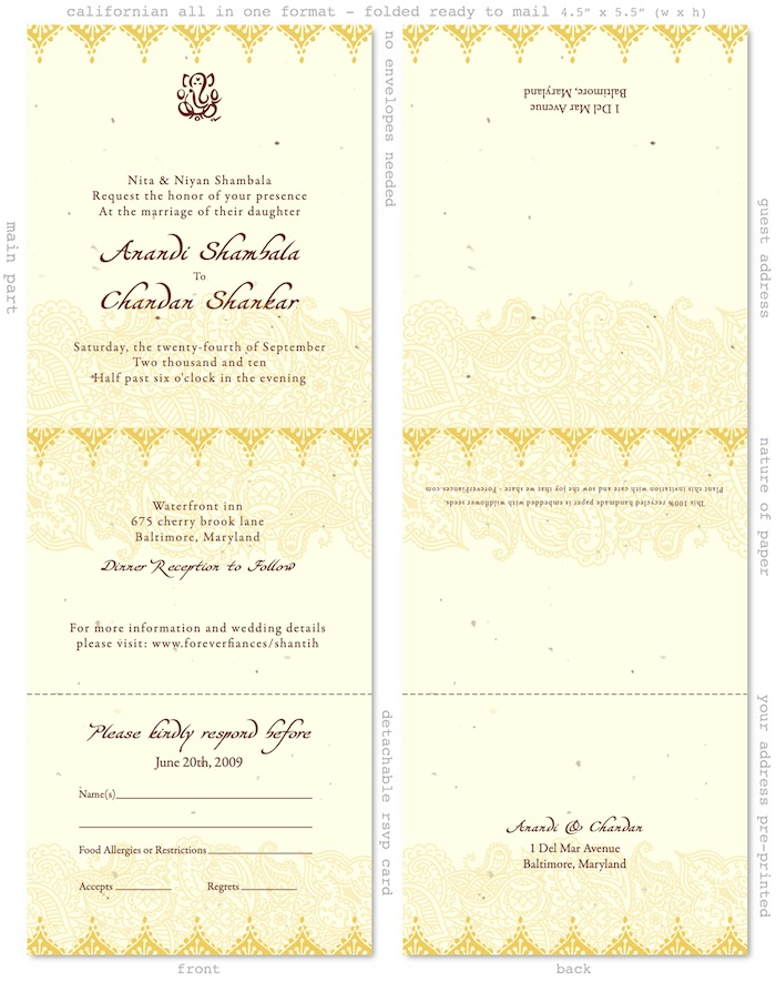 Indian Plantable Wedding Invitations Displayed below in custom curry yellow