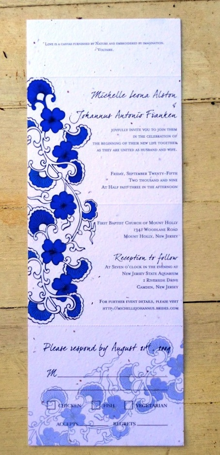Japanese Theme Wedding Cards Beauty All In One Royal Blue White