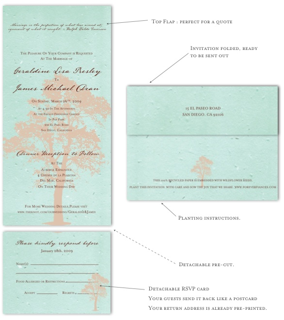 handmade wedding invitations The Solid Oak Tree on tiffany blue seeded