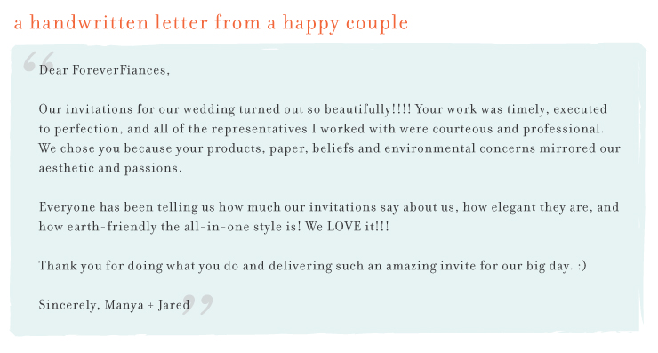 Letter from Manya + Jared