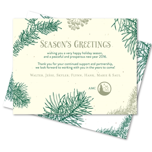 Corporate holiday cards on seeded paper doug fir by for Corporate holiday greeting wording