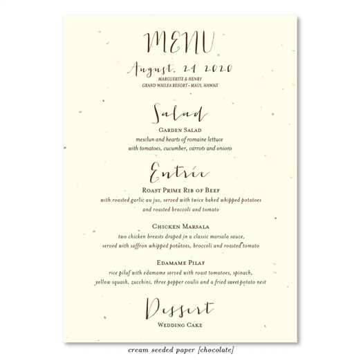 Seeded Paper Wedding Menus Organic By ForeverFiances