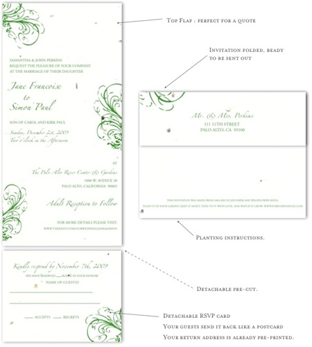 Fleur de Feux - white wedding invitations