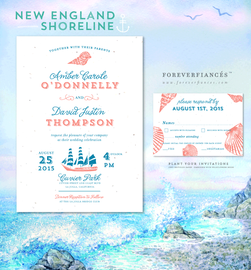Beach wedding invitations New England Shoreline