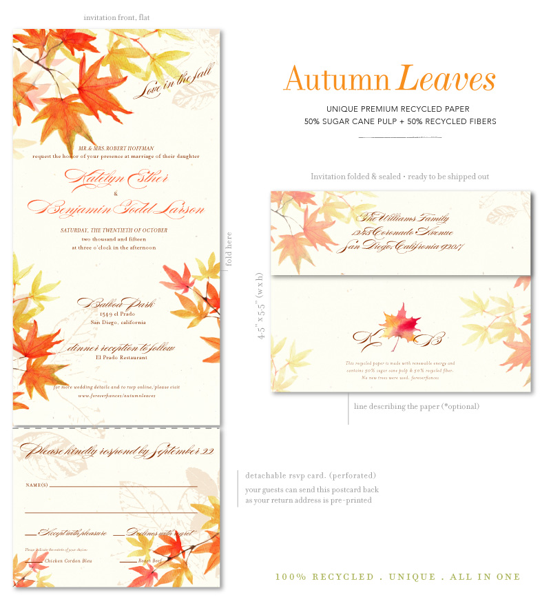 Fall Wedding Invitations With Autumn Leaves On 100