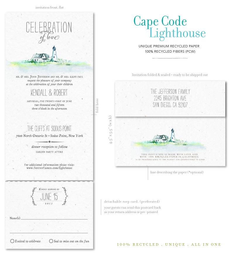 Cape Code Lighthouse Wedding Invitations