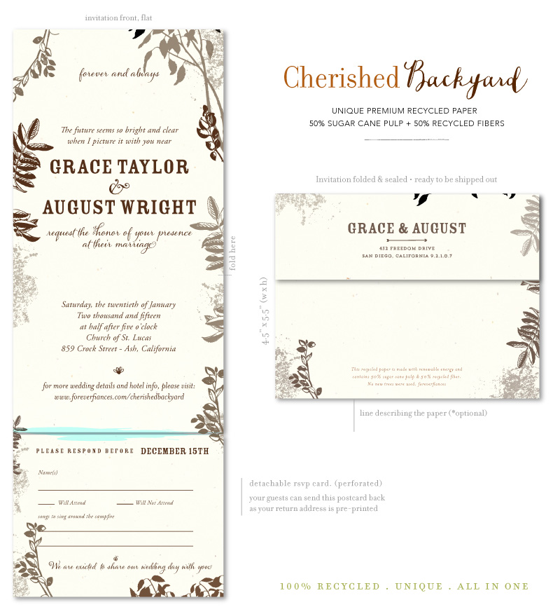 send and sealed backyard wedding invitations card type californian invitations all in one - All In One Wedding Invitations