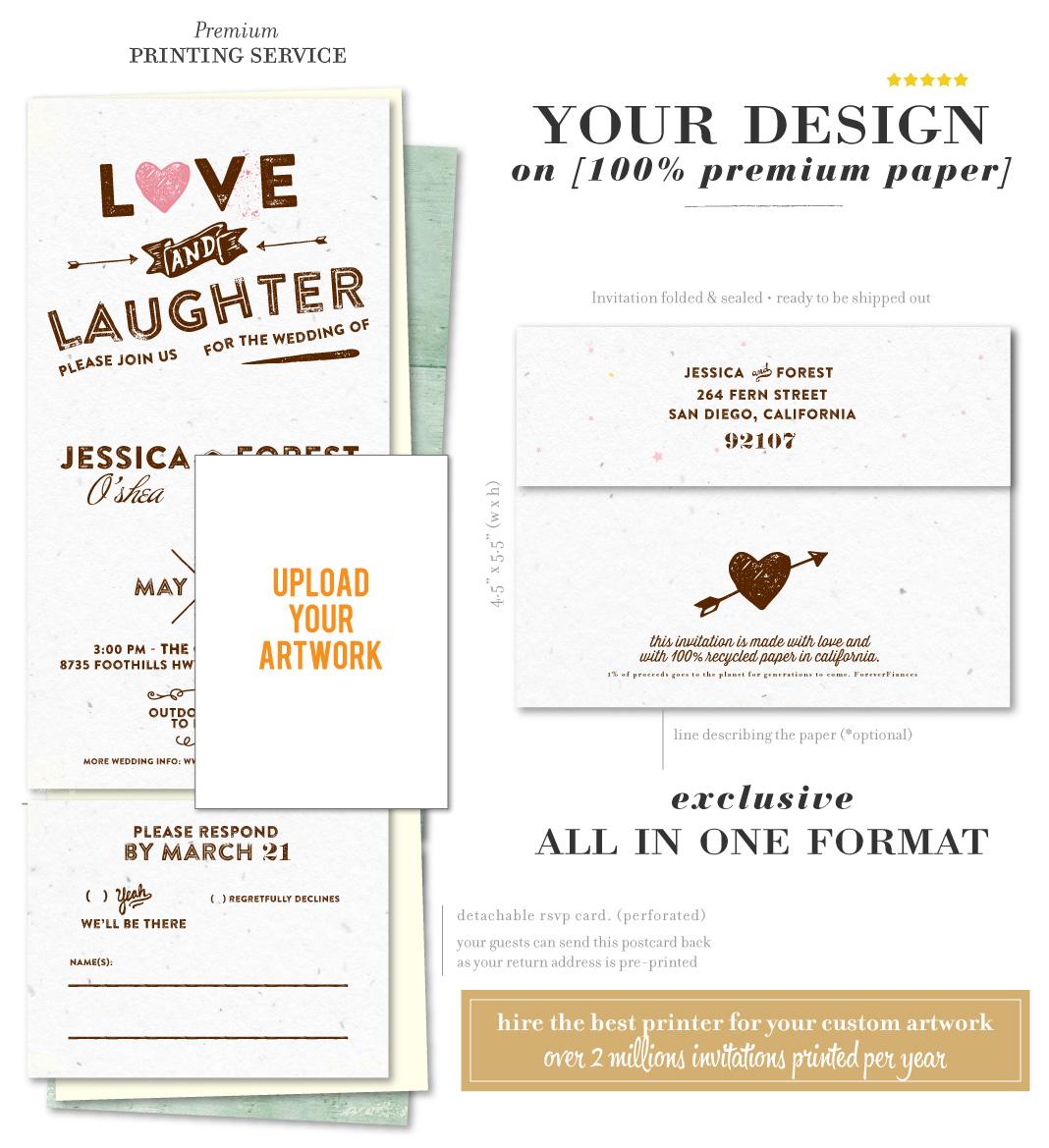 Send n Sealed Wedding Invitations on 100% Recycled Paper   Custom ...