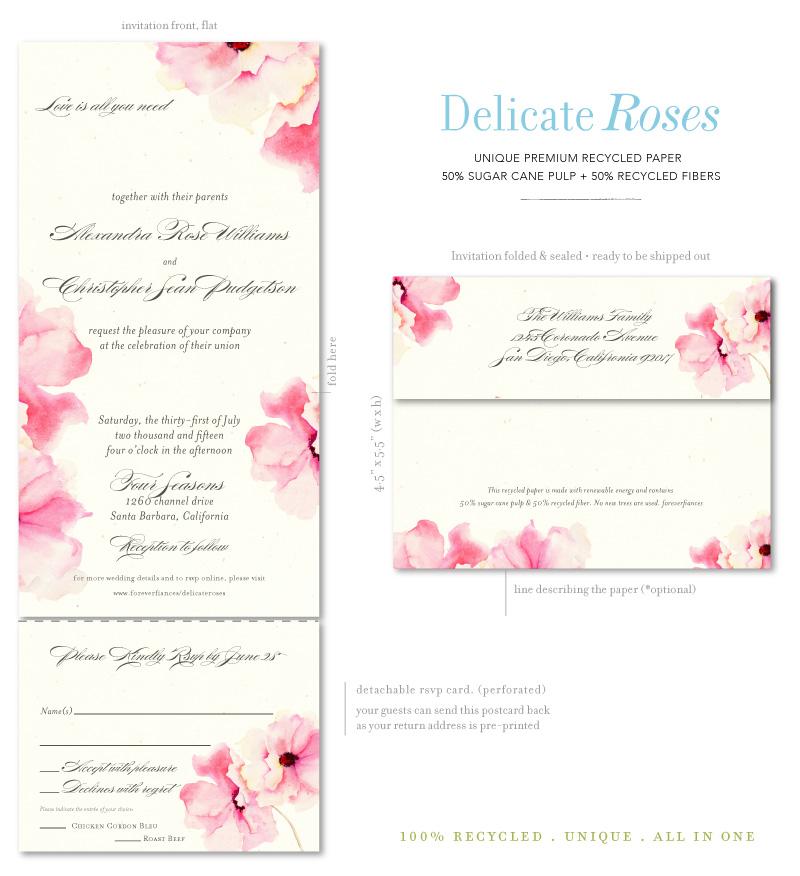 Antique Rose Wedding Invitations