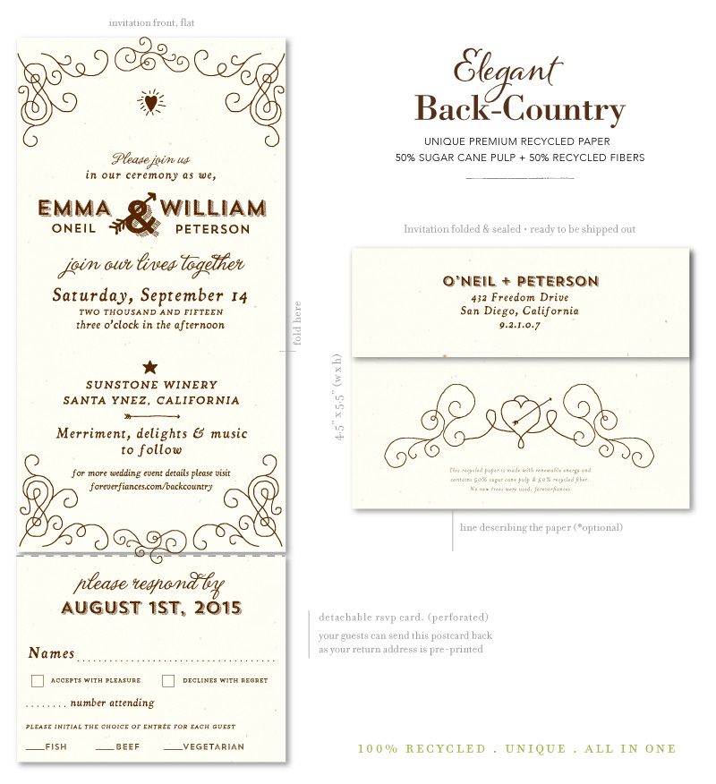 Wood Vintage Wedding Invitations