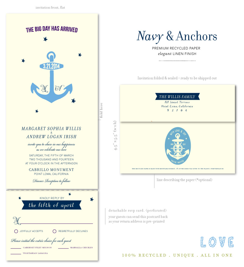 Naval Wedding Invitations on 100 recycled paper Navy Anchors