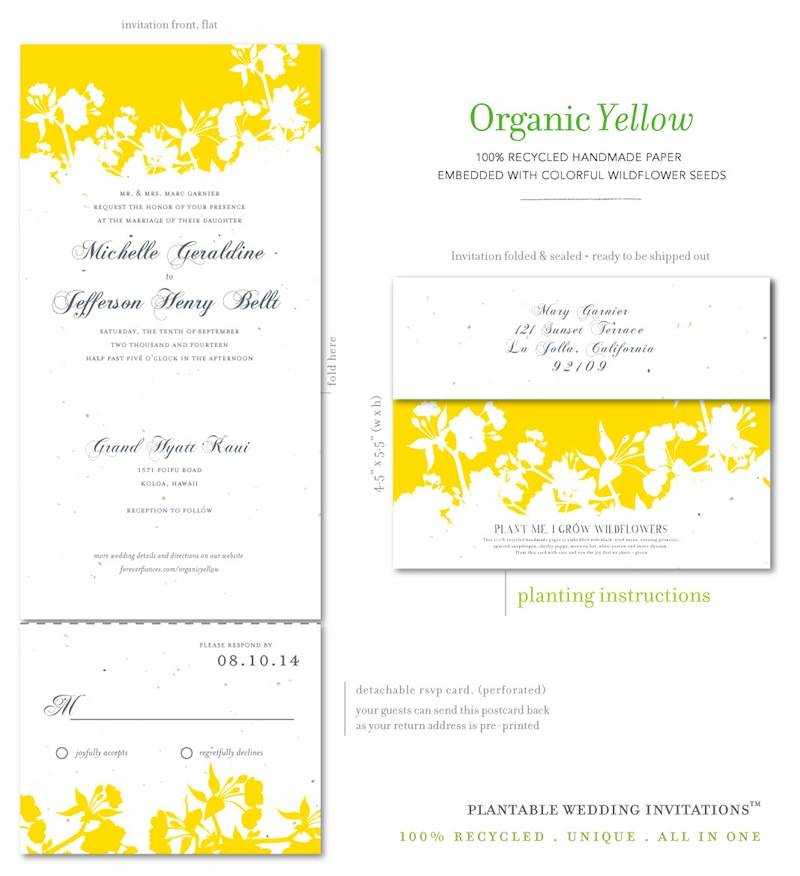 Unique Wedding Invitations on seeded paper- Organic Yellow by ...