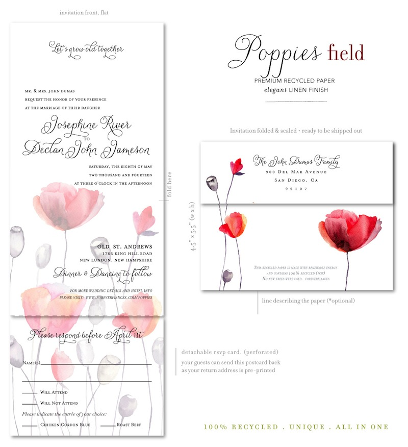Poppies Wedding Invitations watercolor