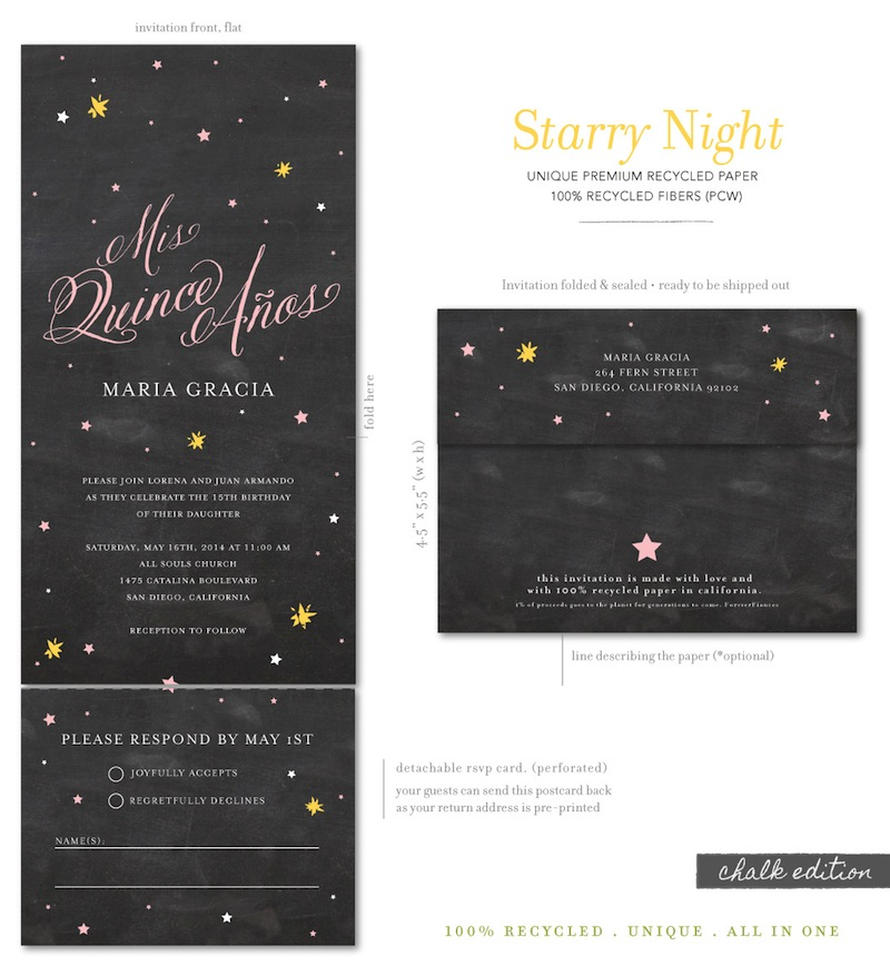 Chalkboard quinceanera invitations