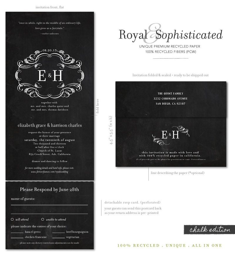 Royal wedding invitations chalkboard