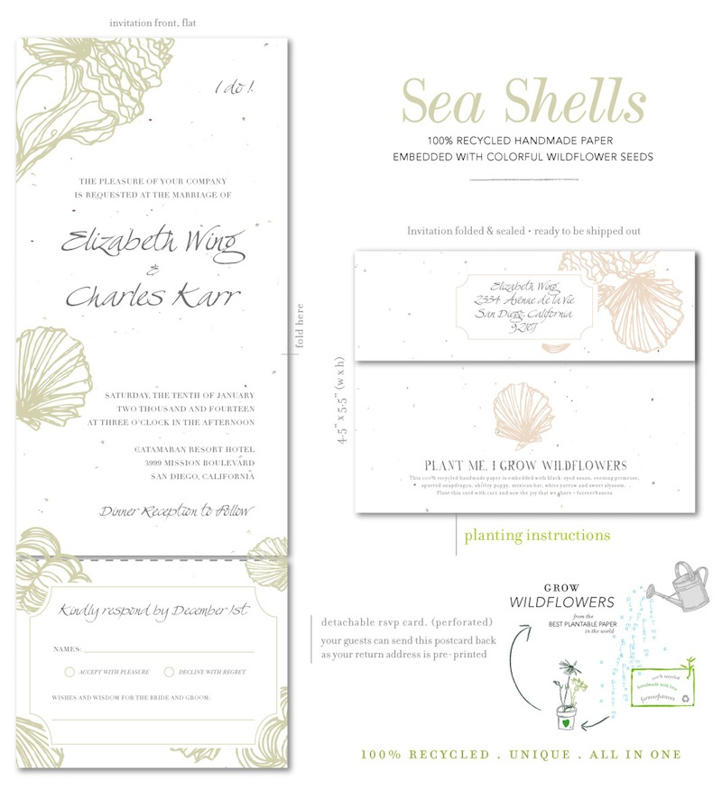 Sea Shells Wedding Invitations