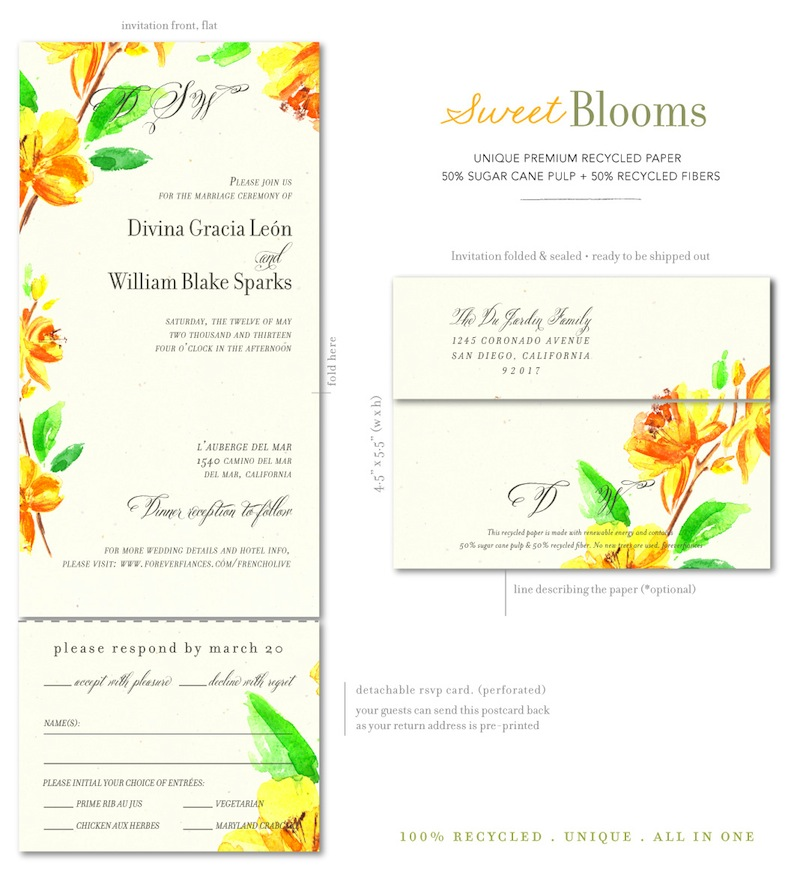 Sweet Blooms Wedding Invitations