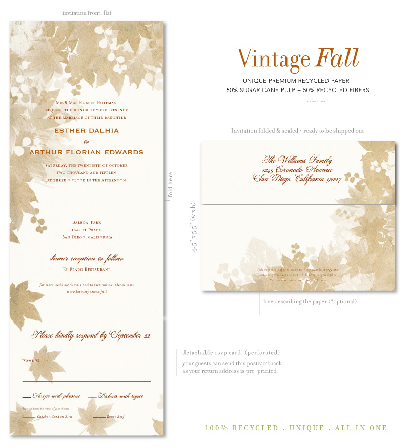 Vintage fall Wedding Invitations