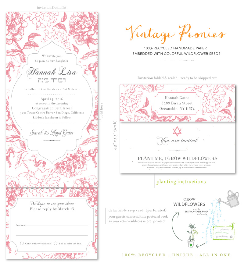 Peonies Wedding invitations