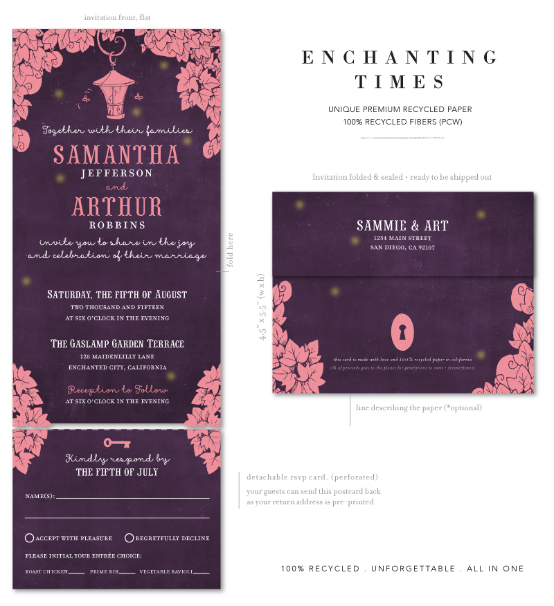 enchanting garden wedding invitations