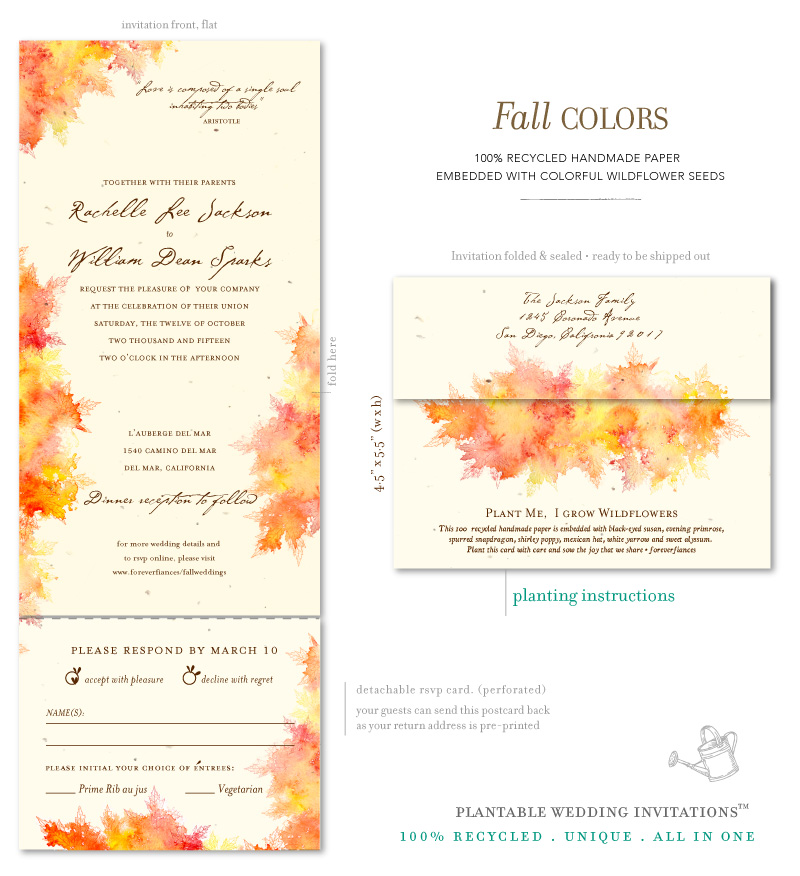 Watercolor fall Wedding Invitations