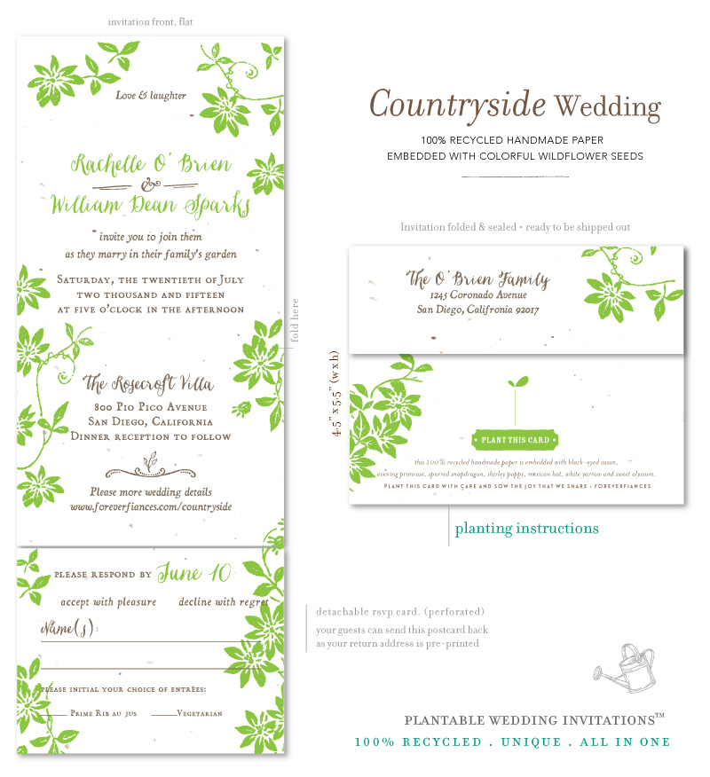 All in One Wedding invitations - Countryside Wedding