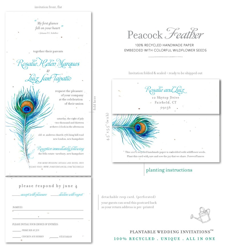 Unique Wedding Invitations on Plantable Paper Delicate Peacock