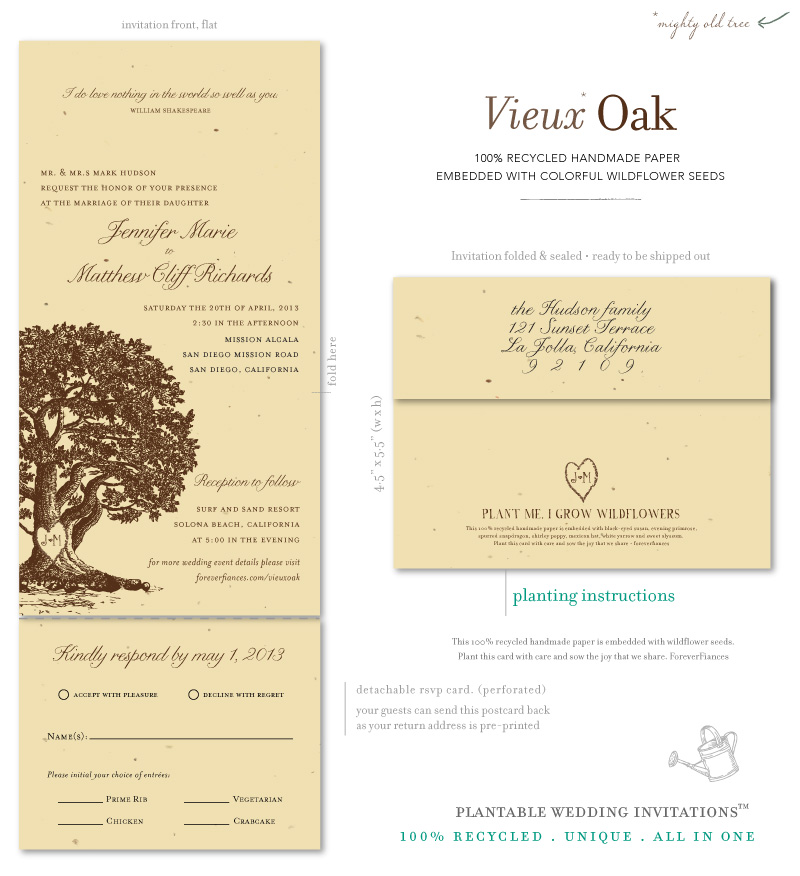 Oak Tree Wedding Invitations on seeded paper | Vieux Oak