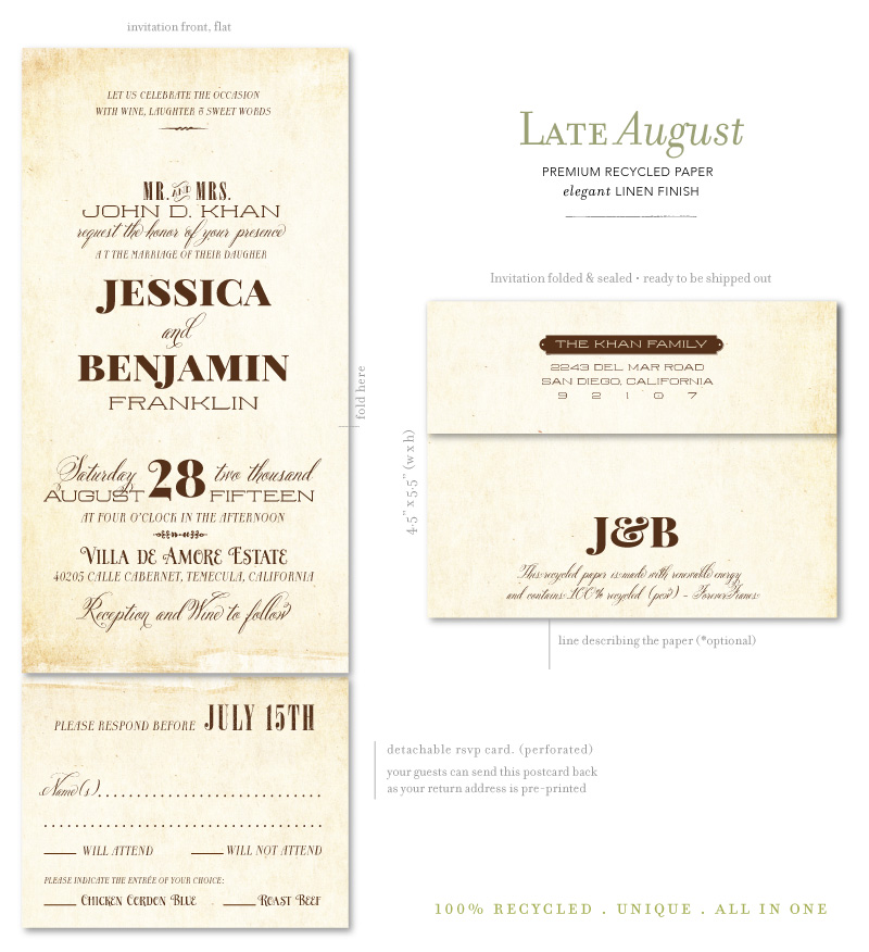 Send n sealed wedding invitations on 100 recycled antique paper send and sealed wedding invitations junglespirit Gallery