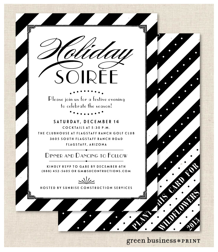 Black Tie Business Invitations on Exclusive White Seeded Paper ...