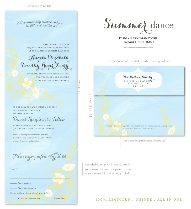 Maui Wedding Invitations Aqua
