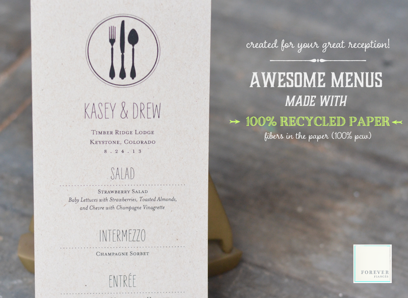 organic recycled wedding menus